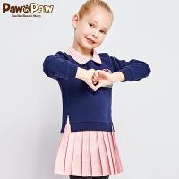 【秒杀价:140】Pawinpaw卡通小熊童装春夏女童娃娃领拼接中大童连衣裙