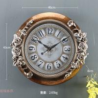 挂钟客厅创意圆形钟表欧式家居钟饰卧室装饰静音墙复古钟家用壁钟 18英寸