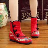 2017秋冬女士民族风复古绣花鞋高帮布鞋刺绣短筒布靴单靴内增高