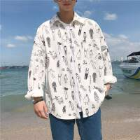 春季印花衬衫男士衬衣长袖港风韩版潮流外套学生寸衫