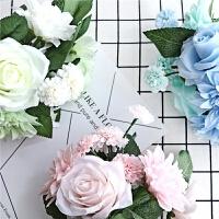 仿真玫瑰花束花艺客厅餐桌茶几装饰绢花假花插花牡丹干花塑料套装
