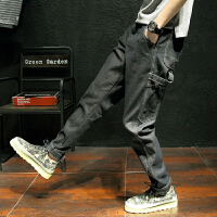 秋新潮魔术贴收脚口哈伦牛仔裤青年显瘦黑色多口袋牛仔长裤大码男