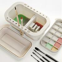 多功能洗笔桶水桶美术涮笔筒颜料水粉绘画水彩画画专用油画调色盘调色盒三合一