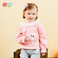 贝贝怡2020年秋季 女童宝宝卡通时尚加绒上衣t恤卫衣小童衣服