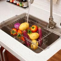 欧润哲 不锈钢可伸缩洗菜盘架 厨房多功能蔬菜收纳架餐具置物架 赠防滑长袖护肤手套一双
