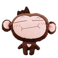 猴子珊瑚绒毯子暖手宝两用抱枕被子三合一靠垫毯毛绒玩具生日礼物 暖手+抱枕+毯子1*1.7米