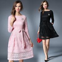 蕾丝连衣裙中长款欧洲站秋装欧货潮明星同款七分袖修身女装