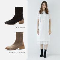 青婉田简约袜靴女中跟踝靴女复古2018新款弹力瘦瘦靴秋季短靴女