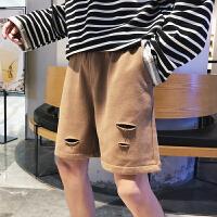 裤子男韩版潮流休闲裤短裤夏季直筒运动破洞五分裤沙滩裤中裤男裤
