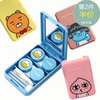 美瞳盒子可爱2副装眼镜盒隐形清洗器收纳盒