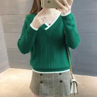 春装2018新款女士韩版百搭宽松套头v领长袖加厚时尚毛衣打底衫潮