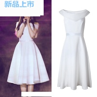 一字领名媛露肩白色小香风连衣裙中长款礼服裙A字裙
