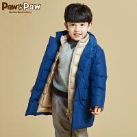 【3件3折 到手价:389】Pawinpaw宝英宝卡通小熊童装男童帅气羽绒服儿童中长款外套