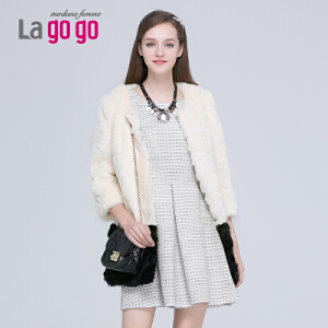 Lagogo冬季新款修身中长款七分袖显瘦圆领上衣人造皮草外套女