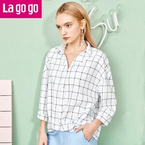 Lagogo清新格子条纹衬衫女韩版2017夏季新款七分袖V领短款上衣