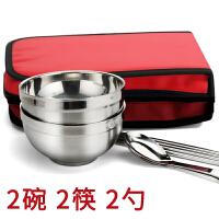 学生便携餐具不锈钢碗 折叠单双人碗包餐具套装户外旅行餐具