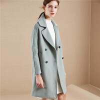 拉夏贝尔羊毛毛呢外套女士冬季新款韩版宽松外衣森系赫本中长呢子大衣