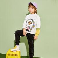 【2件3折:129】巴拉巴拉旗下巴帝巴帝男童长袖套装儿童休闲卡通卫衣卫裤2020春装新款男