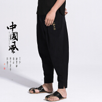 中国风男装棉麻裤哈伦裤中式唐装长裤子亚麻宽松灯笼小脚阔腿裤夏
