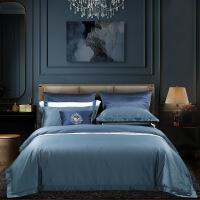 水星家纺长绒棉100S四件套纯色被套床单简约星级酒店用品甄贵