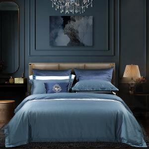 【每满150减50】水星家纺长绒棉100S四件套纯色被套床单简约星级酒店用品甄贵