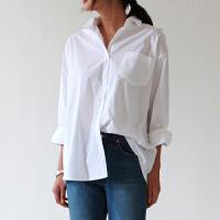 2018春新款全棉打底衬衫女长袖白色bf风宽松显瘦韩版大码女装衬衣 白色