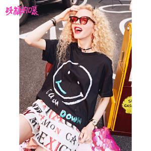 妖精的口袋女装款短袖2018新款笑脸chic上衣宽松欧货t恤女
