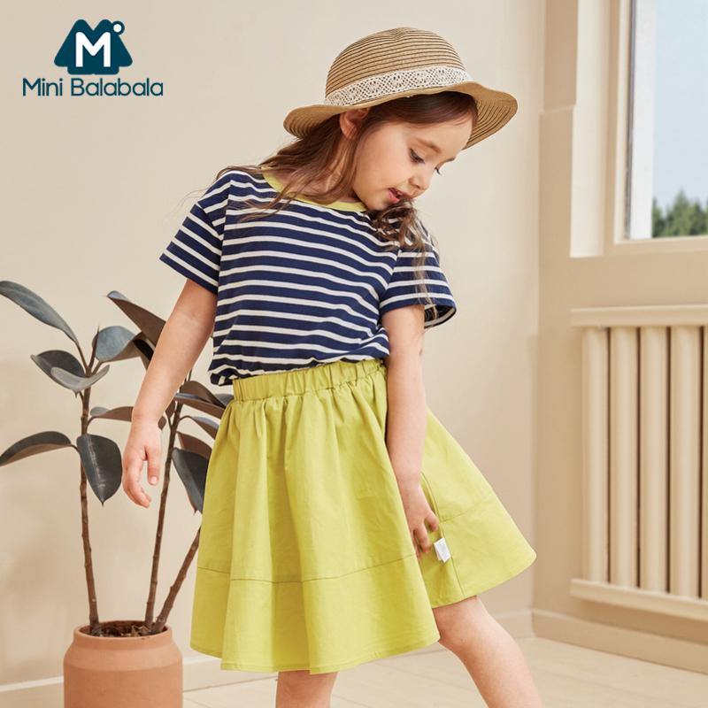 【限时2件3折价:90】迷你巴拉巴拉女小童短袖套装年夏装新款宝宝洋气条纹两件装潮