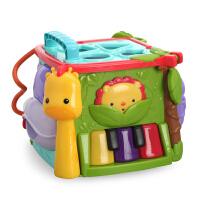 美国费雪探索学习六面盒宝宝双语数字屋积木形状盒智力配对玩具