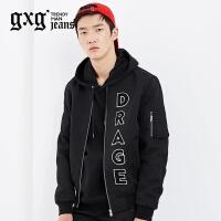 gxg.jeans男装秋季黑色修身潮流简约棒球服休闲夹克外套63921007