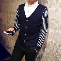 秋季韩版精神男土寸衫假领白领毛衣 社会小伙假两件衬衣领针织衫