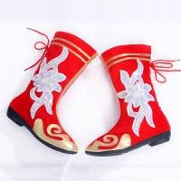 新款儿童少数民族蒙古鞋/藏族舞鞋女式舞蹈舞台演出鞋-弹力高筒靴