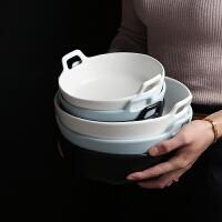 欧式创意双耳陶瓷碗 水果沙拉碗家用汤碗面碗水煮鱼大碗汤盆