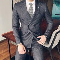 英伦绅士特工条纹男优雅修身双排扣西装kingsman西服两件套装
