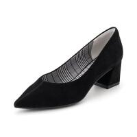 星期六(ST&SAT)秋季专柜同款绒面羊皮革通勤中低粗跟单鞋高跟鞋SS83111210