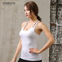 【折上1件8折/2件7.5折】Kombucha瑜伽健身背心2019新款女士性感美背弹力速干含胸垫吊带式健身跑步运动背心JCBX234