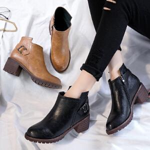 ZHR2017冬季新款马丁靴女英伦风单靴高跟裸靴复古女靴子粗跟短靴J31