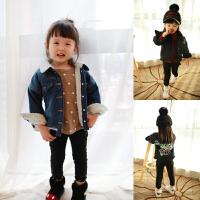 童装男女童秋冬季新款 儿童加绒彩色字母牛仔外套