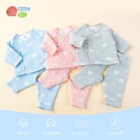 贝贝怡婴儿衣服新生儿长袖套装加厚保暖秋衣秋裤两件套冬季家居服