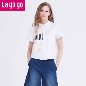 Lagogo夏新品韩版印花短袖白衬衫上衣女白衬衣短款小清新夏装学生