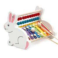 婴幼儿童益智男女孩音乐宝宝玩具木制手敲八音敲琴0-1-2岁-3周岁