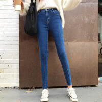 时尚学院风秋冬季新款韩版女装chic高腰铅笔裤修身显瘦九分牛仔裤
