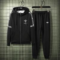 开衫卫衣男套装春季2020新款宽松休闲运动套装字母印花两件套