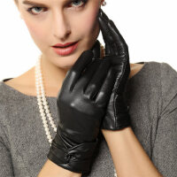 真皮手套女士冬季�M口羊皮短款保暖蝴蝶�Y皮手套