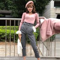 2018春季新款网纱拼接V领短款长袖打底针织衫+高腰系带格子小脚裤