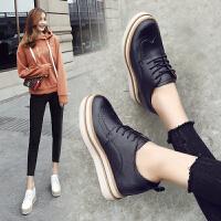 ZHR2018春季新款内增高小白鞋厚底松糕鞋布洛克单鞋小皮鞋女鞋B77
