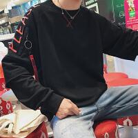 港风秋装撞色圆领套头卫衣男青少年韩版宽松长袖风情侣学生外套