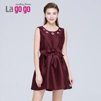 【品牌日】Lagogo/拉谷谷2015冬新款纯色圆领修身系带无袖连衣裙EDB953G321
