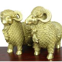 家居装饰摆件 生肖铜羊 黄铜羊财字对羊摆件 铜山羊