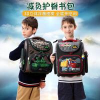 Delune�N噜呢新品小学生减负护脊书包,儿童双肩背包男孩3D立体图案